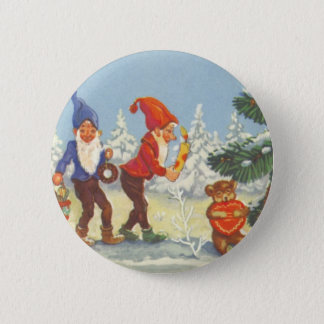 Vintage Christmas, Elves in the Snow Forest Winter Pinback Button