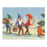 Vintage Christmas, Elves in the Snow Forest Winter Post Card