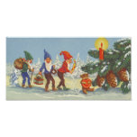 Vintage Christmas, Elves in the Snow Forest Winter Print
