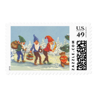 Vintage Christmas, Elves in the Snow Forest Winter Stamp