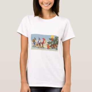Vintage Christmas, Elves in the Snow Forest Winter T-Shirt