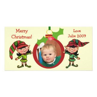 Vintage Christmas Elves Photo Card