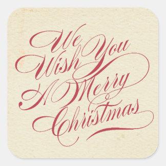 Vintage Christmas | Envelope Seal Square Sticker