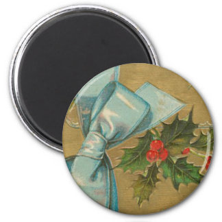 Vintage Christmas Envelope with Ribbon 2 Inch Round Magnet