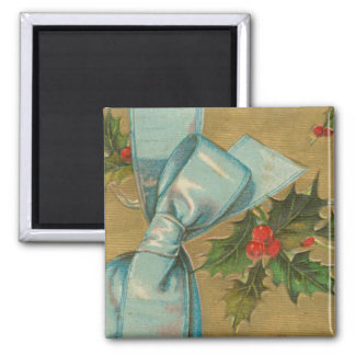 Vintage Christmas Envelope with Ribbon 2 Inch Square Magnet