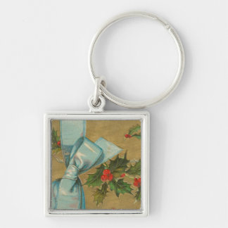 Vintage Christmas Envelope with Ribbon Key Chain