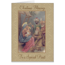 Vintage Christmas Epiphany Three Kings Priest Card