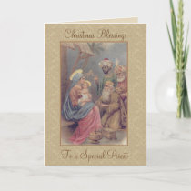 Vintage Christmas Epiphany Three Kings Priest Holiday Card