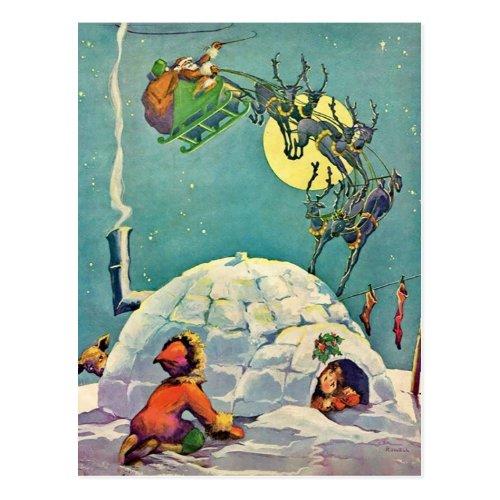 Vintage Christmas Eskimo Igloo Santa Flying Postcard