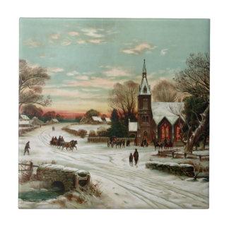 Vintage Christmas Eve 2 Ceramic Tile