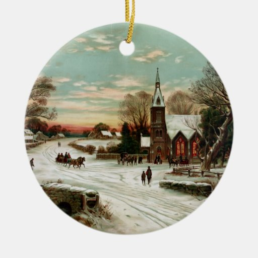 Vintage Christmas Eve 2 Holiday Ornament