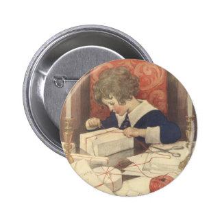 Vintage Christmas Eve Child, Jessie Willcox Smith Button