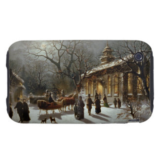 Vintage Christmas Eve Church service Tough iPhone 3 Covers