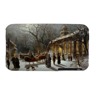 Vintage Christmas Eve Church service iPhone 3 Case-Mate Case