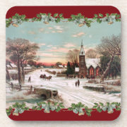 Vintage Christmas Eve Cork Coaster