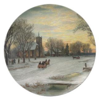 Vintage Christmas Eve Night Melamine Plate