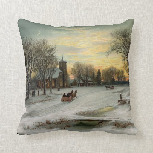 Vintage Christmas Eve Night Ornament Pendant Pillow