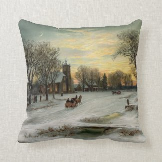 Vintage Christmas Eve Night Ornament Pendant Throw Pillow