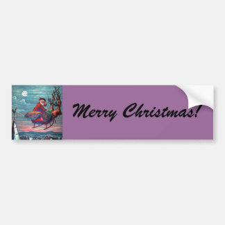 Vintage Christmas Eve Santa and Reindeer Bumper Sticker