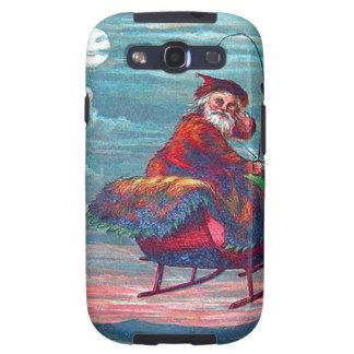 Vintage Christmas Eve Santa and Reindeer Galaxy S3 Cases