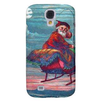 Vintage Christmas Eve Santa and Reindeer Samsung Galaxy S4 Case
