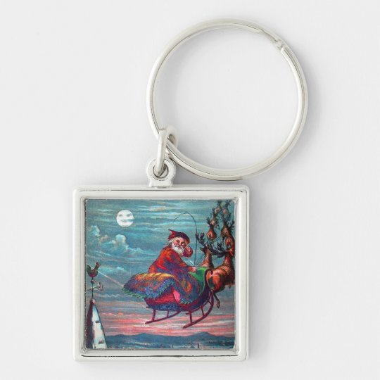Vintage Christmas Eve Santa and Reindeer Keychain