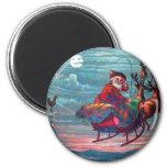 Vintage Christmas Eve Santa and Reindeer Refrigerator Magnet