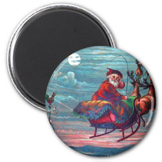 Vintage Christmas Eve Santa and Reindeer Magnet