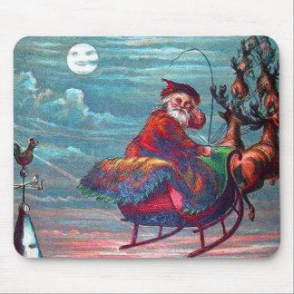 Vintage Christmas Eve Santa and Reindeer Mouse Pad