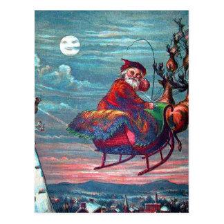 Vintage Christmas Eve Santa and Reindeer Postcard