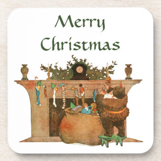 Vintage Christmas Eve Santa Fireplace Stockings Coaster