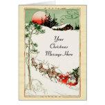 Vintage Christmas Eve Santa, Sleigh and Reindeer Cards