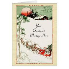 Vintage Christmas Eve Santa, Sleigh And Reindeer Card at Zazzle
