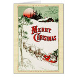 Vintage Christmas Eve Santa, Sleigh and Reindeer Greeting Card