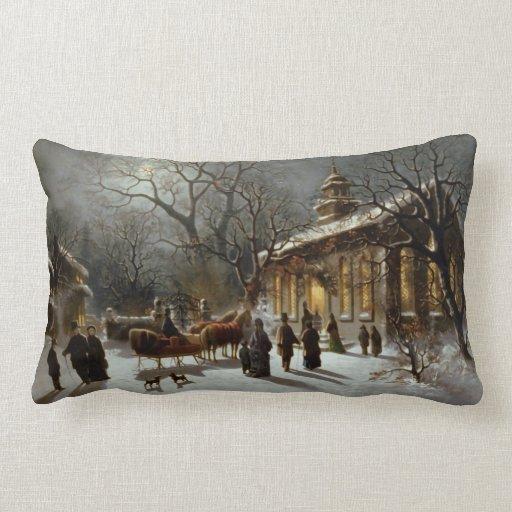 Vintage Christmas Eve scene Pillows