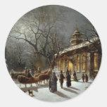 Vintage Christmas Eve scene Round Stickers