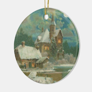 Vintage Christmas Eve Wintery Night Ceramic Ornament