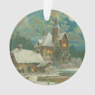 Vintage Christmas Eve Wintery Night Ornament