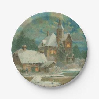 Vintage Christmas Eve Wintery Night Paper Plate
