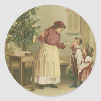 Vintage Christmas Family Classic Round Sticker