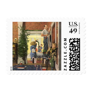 Vintage Christmas, Family Decorating the House Postage
