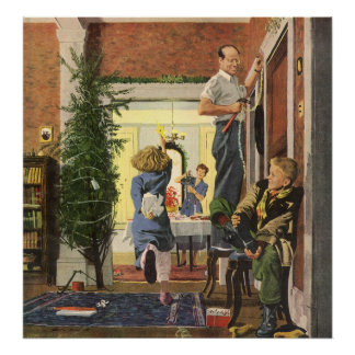 Vintage Christmas, Family Decorating the House Poster