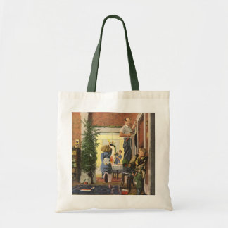 Vintage Christmas, Family Decorating the House Tote Bag