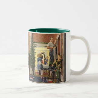 Vintage Christmas, Family Decorating the House Two-Tone Coffee Mug