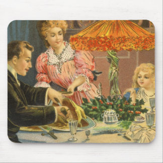 Vintage Christmas, Family Dinner Mouse Pad