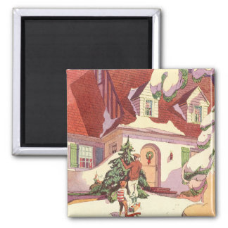 Vintage Christmas, Family House in the Snow 2 Inch Square Magnet
