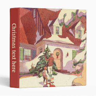 Vintage Christmas, Family House in the Snow 3 Ring Binder