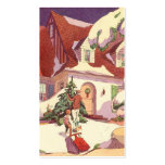 Vintage Christmas, Family House in the Snow Business Card