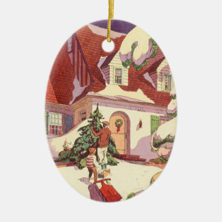 Vintage Christmas, Family House in the Snow Ceramic Ornament