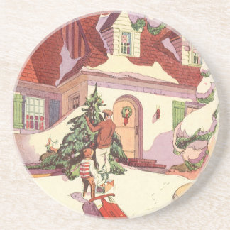Vintage Christmas, Family House in the Snow Coaster